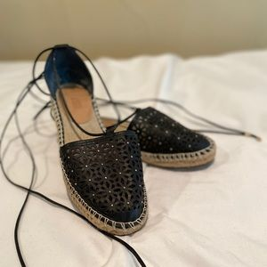 Espadrille style shoe with ankle ties